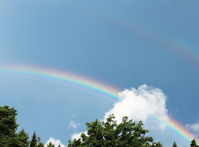 空にかかる虹のイメージ図